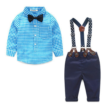 Plaid Boys Suspender Pants Sets 1Y-4Y
