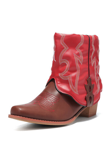 Embroidered Chunky Heel Cowboy Short Boots