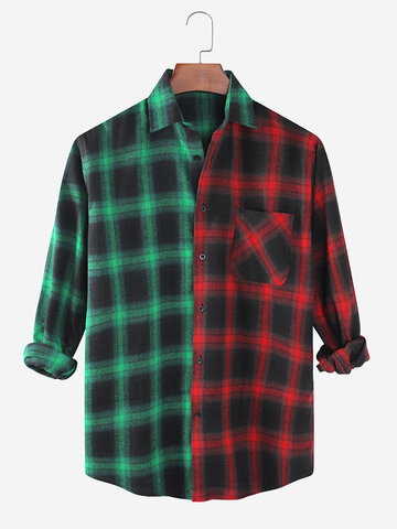 Check Patchwork Casual Shirts