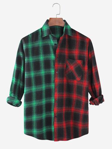 Camisas casuales de patchwork a cuadros