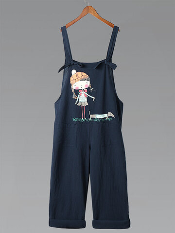 Vintage Cartoon Print Straps Cotton Jumpsuit