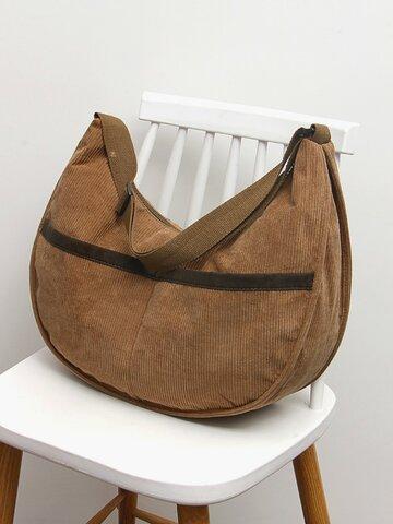 Coduroy Patchwork Tote Handtasche mit großem Fassungsvermögen
