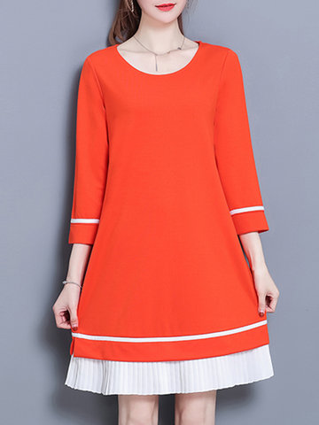 Casual Patchwork Women O-neck Dresses, Black orange