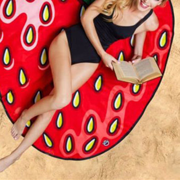 Women Summer Cartoon Fruit Strawberry Beach Towel Casual Travel Sunscreen Shawl Scarf, Red
