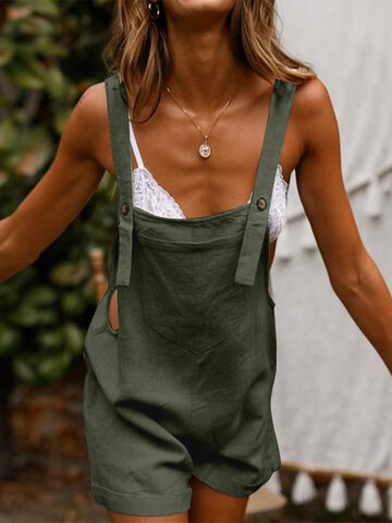 Casual Solid Color Sleeveless Jumpsuit