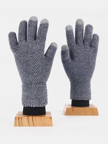 Unisex Colorful Chenille Knitted Full-finger Gloves