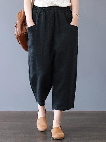 Harem Pants Solid Color Capris