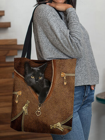 Felt Cute Black Cat Handbag Tote