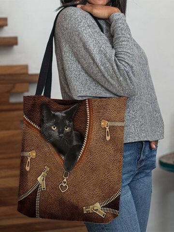 Borsa tote in feltro con gatto nero carino