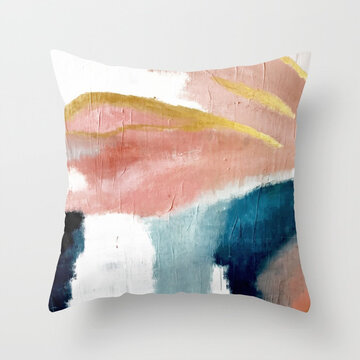 INS Abstract Color Painted Linen Cotton Throw Pillow Cover
