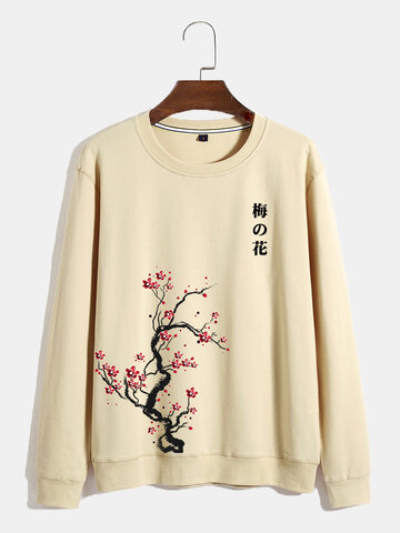 Plum Bossom Chinese Print Sweatshirts