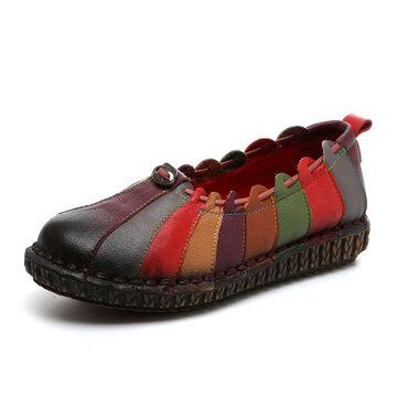 Socofy Loafers de Arco-íris Tecidos de Couro Suaves Planos Vintage
