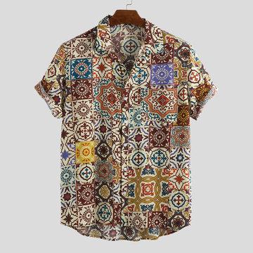 Camisas ocasionais impressas florais do vintage dos homens