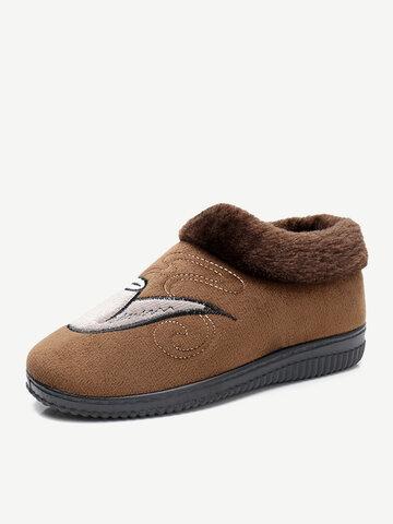 Men Fabric Fur Lining Warm Casual Slippers