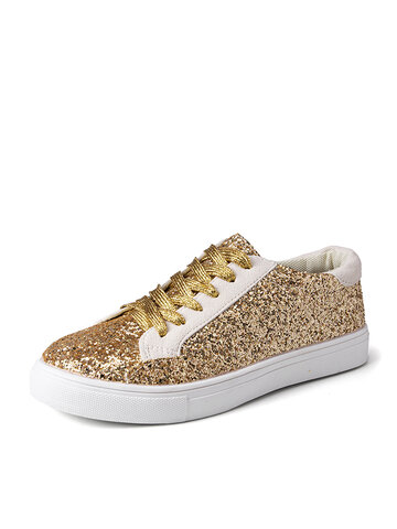 Sequined Lace Up Court Sneakers