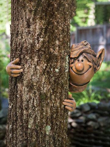 3 Pcs Resin Voyeur Monster Face Fairy Hug Tree Peekaboo Crafts Pendant Garden Decor Suit