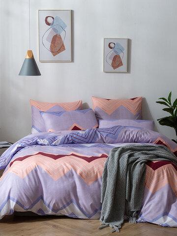 2/3Pcs Geometric Modern Stripes Duvet Cover Set Pillowcase Adults Bed Duvet Set Twin King