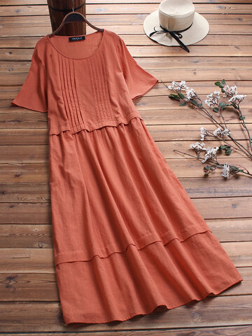 Vintage Solid Color Pleated Dress