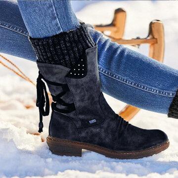Snow Strappy Block Heel Boots