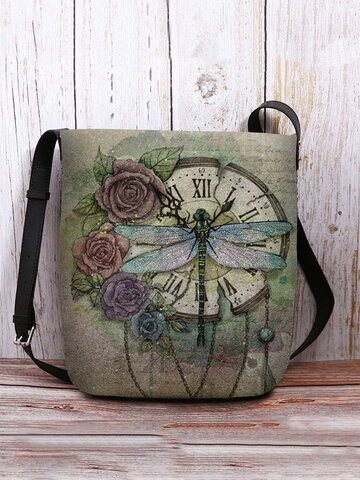 Felt Vintage Dragonfly Print Crossbody Bag