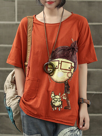 Print Cartoon Short Sleeve T-Shirt