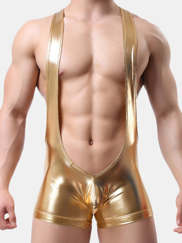 Faxu Leather Shining Stage Jumpsuit