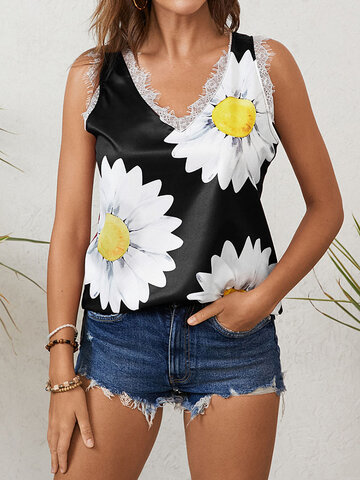 Daisy Print Lace Patched Tank Top
