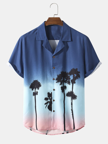 Plant Print Ombre Holiday Shirt