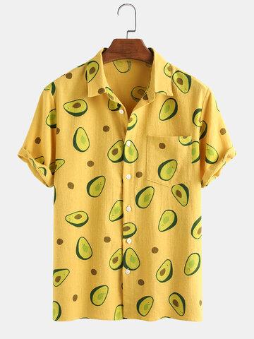 100% Cotton Avocado Printed Shirt