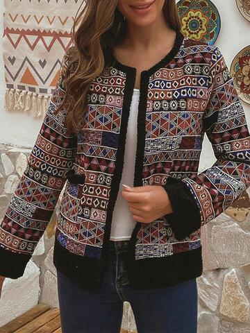 Vintage Ethnic Print Tweed Jackets
