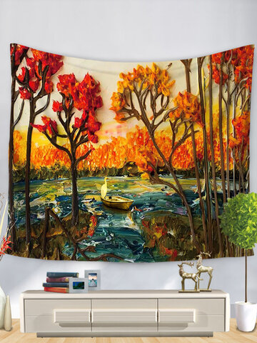 3D Watercolor Landscape Painting Tapestry