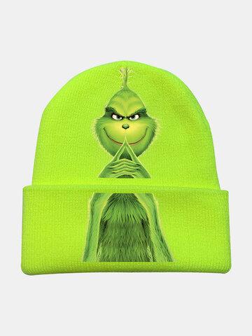 الرجال والنساء الصوف أخضر الفراء الوحش الطباعة محبوك قبعة قبعة صغيرة