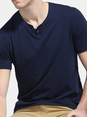 Mens Brief Style Solid Color Cotton Basic Tops Round Neck Short Sleeve Casual T-shirt, White gray black dark gray navy red wine