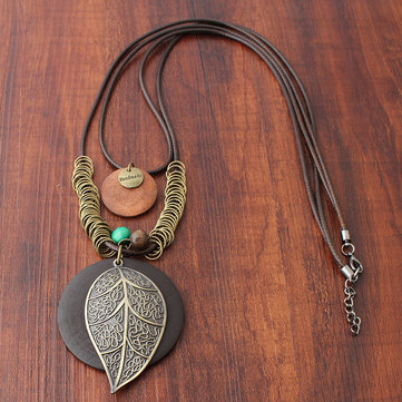 Leaf Wood Pendant Necklace