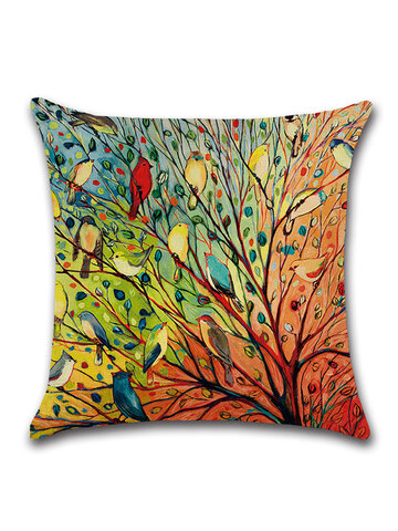 Watercolor Printed Birds Forest Linen Cotton Cushion Cover