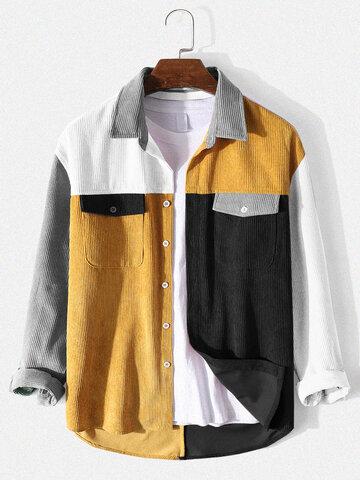 Corduroy Panel Patchwork Shirts