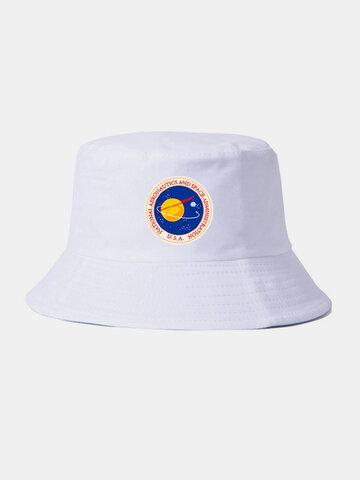 Men & Women Plain Color Planet Pattern Sunshade Bucket Hat