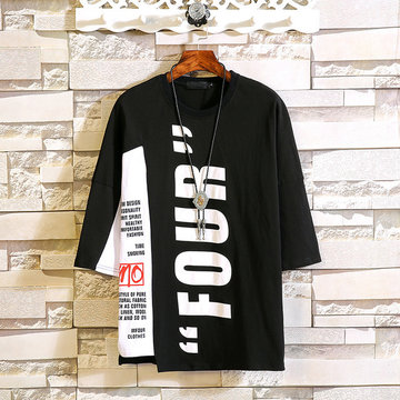 Perth People Seven-point Sleeves Round Neck Men's Personality Trend Shirt Japanese Large Size Short-sleeved T-shirt Large Size Bottoming Shirt