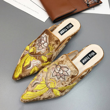 Luxury Pointed Toe Embroidered Flat Loafers, Blue black brown