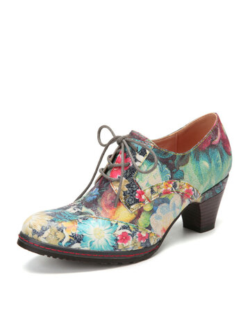 SOCOFY Fresh Natural Style Flowers Printed Cowhide Leather Casual Pumps