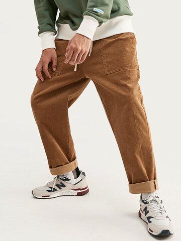 Corduroy Solid Plain Pants