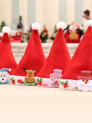 Non Woven Fabric Santa Snowman Kids Christmas Hats