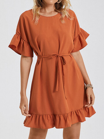 Ruffle Knotted Solid Color Dress
