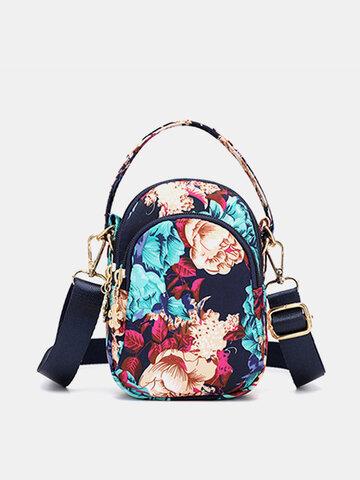 Women Print Floral Crossbody Bag Multi-pocket Phone Purse