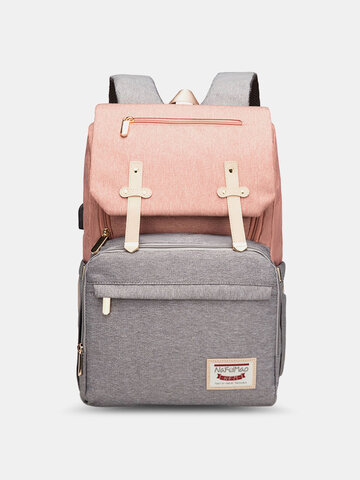 Large Capacity Patchwork Mommy Backpack
