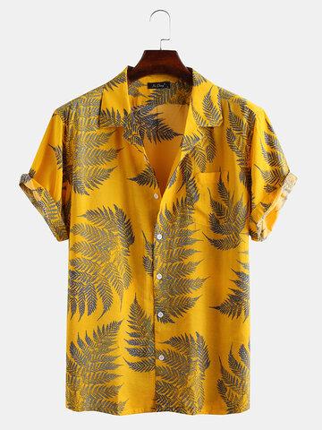 Camisetas masculinas 100% algodão Folha impressas