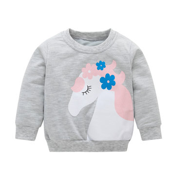 Casual Horse Print Girls Sweatshirt For 1Y-7Y