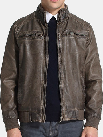 Mens PU Leather Vintage Fashion Casual Jacket