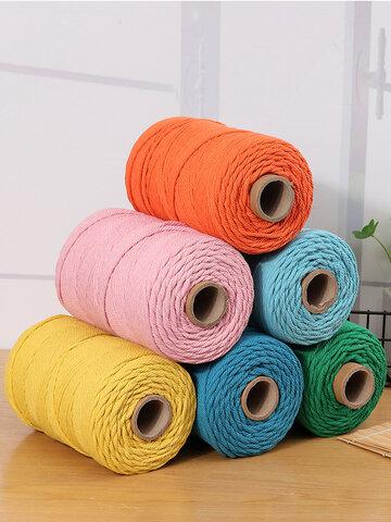 1 pieza 200mx4mm Color Algodón Cuerda Trenzado de hilo de algodón Cuerda Mano DIY Decorativo Cuerda Tejido de tapices Cuerda