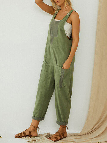 Contrast Color Patchwork Sleeveless Jumpsuit For Women